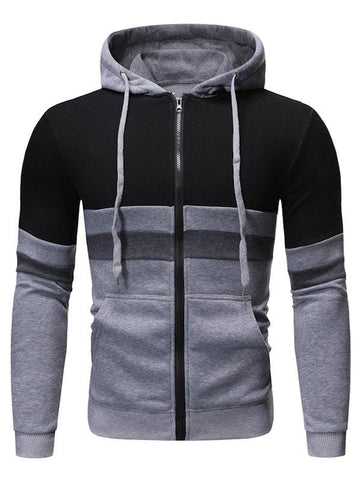 Color Block Splicing Zip Up Hoodie