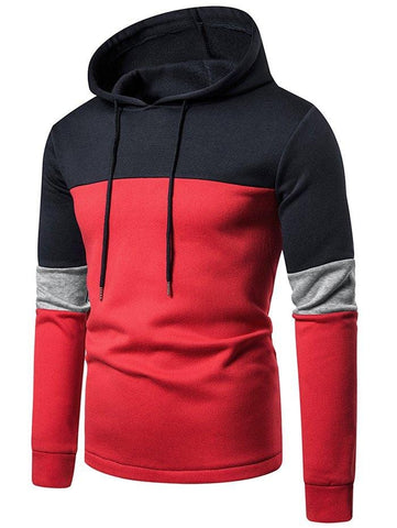 Color-blocking Patch Fleece Drawstring Hoodie