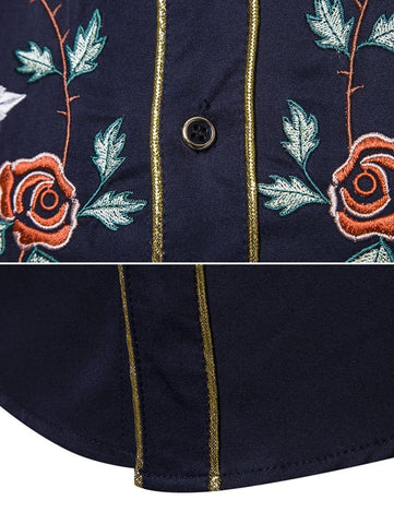 Skull Flower Embroidery Contrast Trim Button Shirt