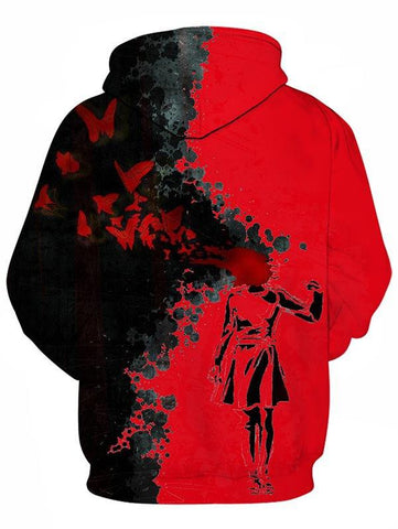 Halloween Blood Girl Printed Splash Ink Hoodie