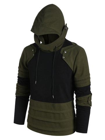 Drawstring Contrast Pleated Mask Hoodie