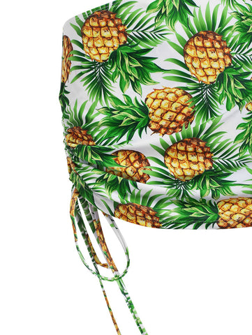 Pineapple Print Cinched Three Piece Swimsuit