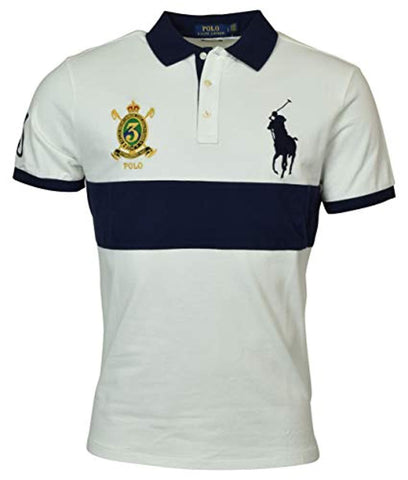 Polo Ralph Lauren Mens Big Pony Custom Slim Fit Striped Crest Polo
