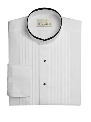 "Neil Allyn Men's Banded Collar 1/2"" Pleats Tuxedo Shirt with Black Piping"