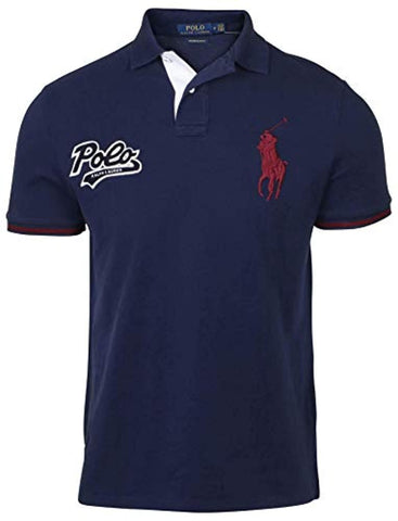 Polo Ralph Lauren Mens Custom Slim Fit Big Pony Polo Shirt (L, Blue)