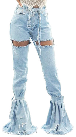 SeNight Women Bell Bottom Jeans Elastic Waist Ripped Flared Jean Destroyed Raw Hem Denim Pants