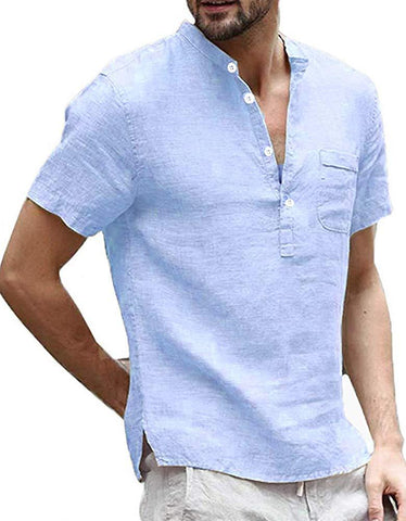 Enjoybuy Mens Linen Henley Shirts Short Sleeve Casual Summer T Shirt Banded Collar Beach Tops
