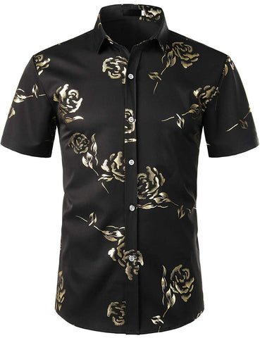 ZEROYAA Mens Hipster Gold Rose Printed Slim Fit Short Sleeve Button Down Dress Shirts