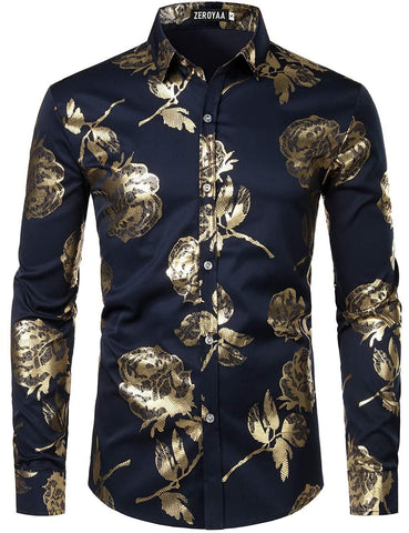 ZEROYAA Men's Geek Rose Gold Shiny Flowered Printed Stylish Slim Fit Long Sleeve Button Down Shirt