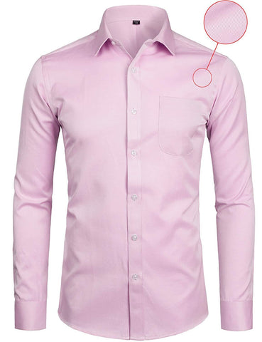 ZEROYAA Mens Slim Fit Dress Shirt Casual Business Long Sleeve Basic Shirts with Pocket
