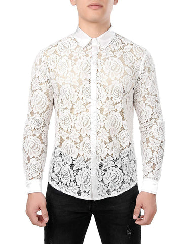ZEROYAA Mens Night Club Style Mesh See Through Long Sleeve Button Down Sexy Lace Floral Dress Shirts