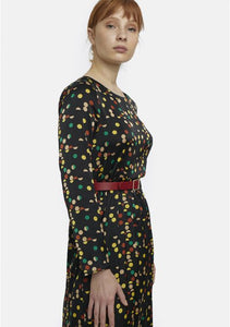 Multicolour Satin Polka Dot Midi Dress