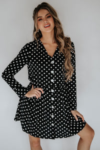 Abby Loose Button Front Loose Fit Polka Dress