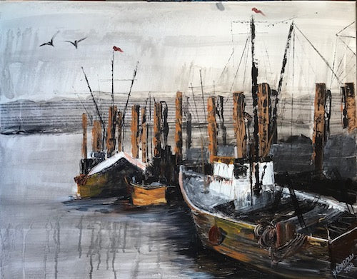 Fishing Boats of Galilee Original Artwork/ Framed