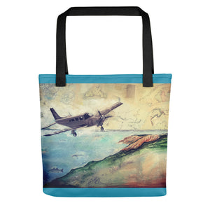 To the Vineyard! (w/blue border) Tote bag