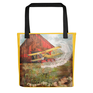 Crop Duster (w/yellow border) Tote bag