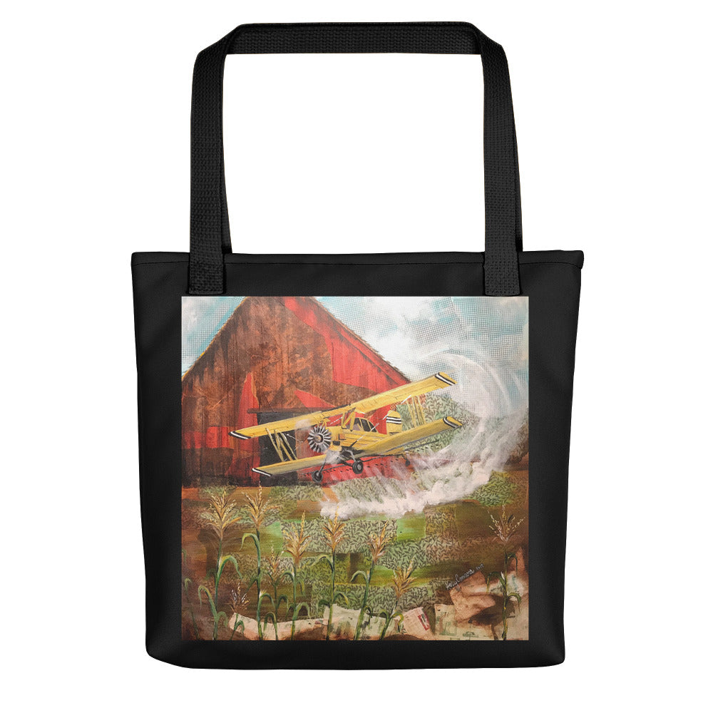 Crop Duster (w/black border) Tote bag