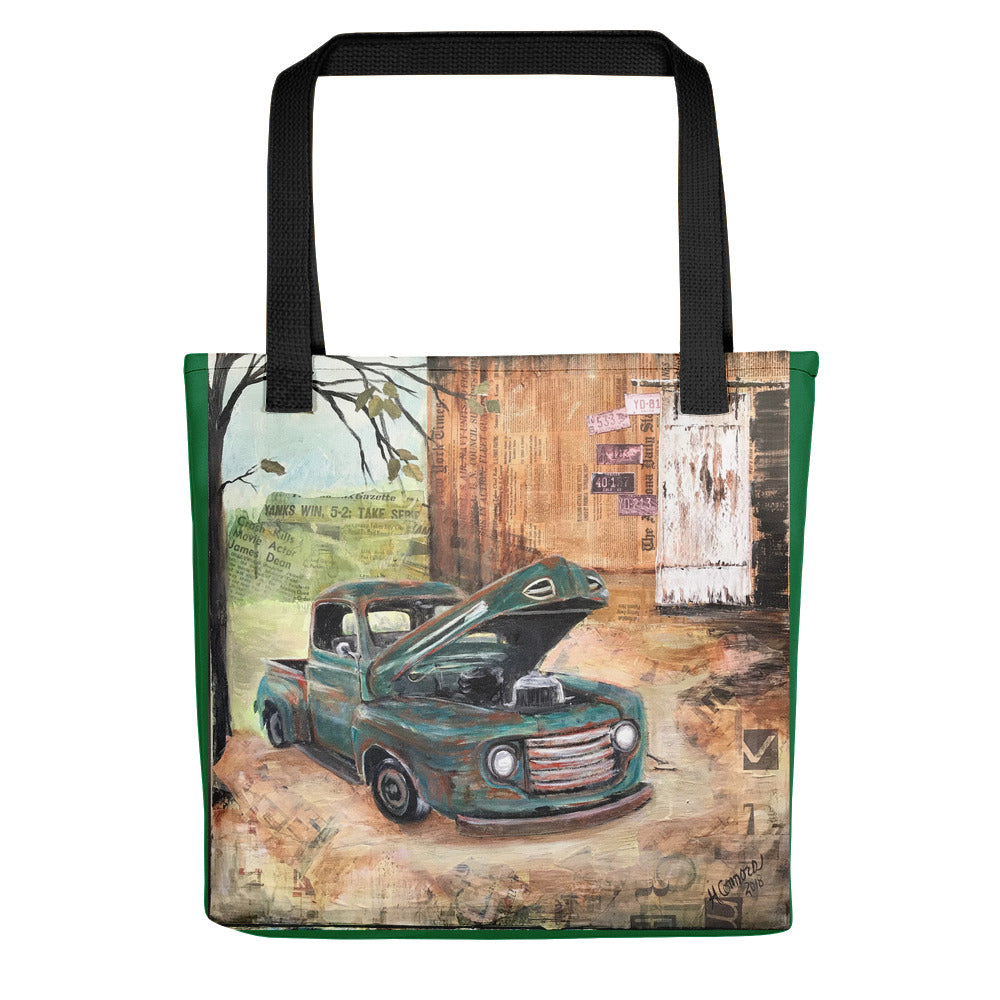 Vintage Truck (w/green border) Tote bag