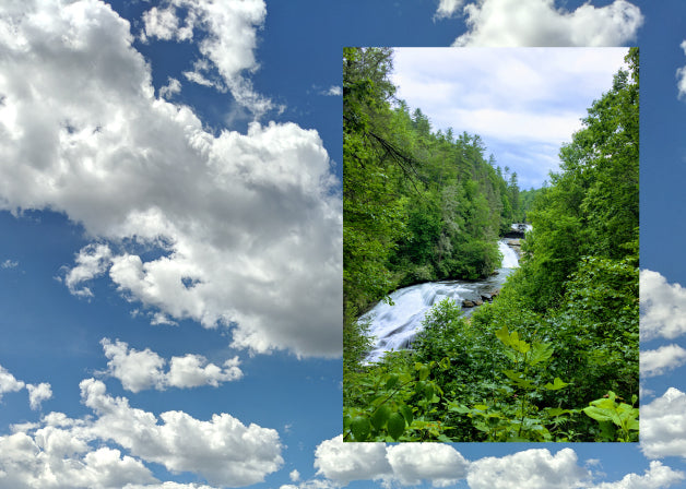 A photo of a running river with a photo of a blue sky with clouds, a metaphor for meditation. Photos by Lindsay Windham