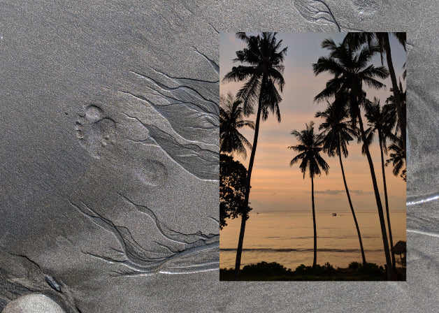 A footprint in dark wet sand and a photo of silhouetted palm trees in a Bali sunset. Photos by Lindsay Windham