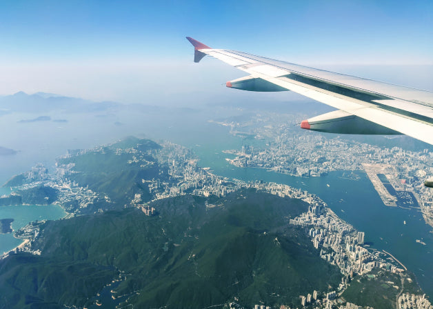 The view of Hong Kong Island from the plane, shot by Distil Union co-founder Lindsay