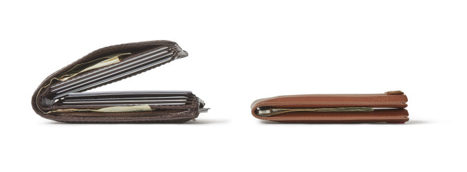 Before and after of a bulky leather wallet versus a slim Distil Union Wally Bifold wallet