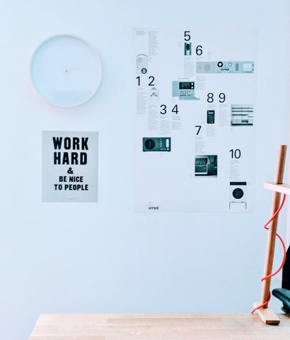 Scene from the Distil Union studio with a clock and Anthony Burrill and Dieter Rams posters