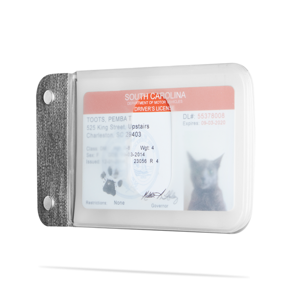 angle shot of distil cardsleeves module with a fake cat id inside a transluscent sleeve
