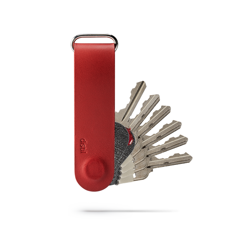 front view of distil red leather keyloop with fobring attachment and six keymods protruding