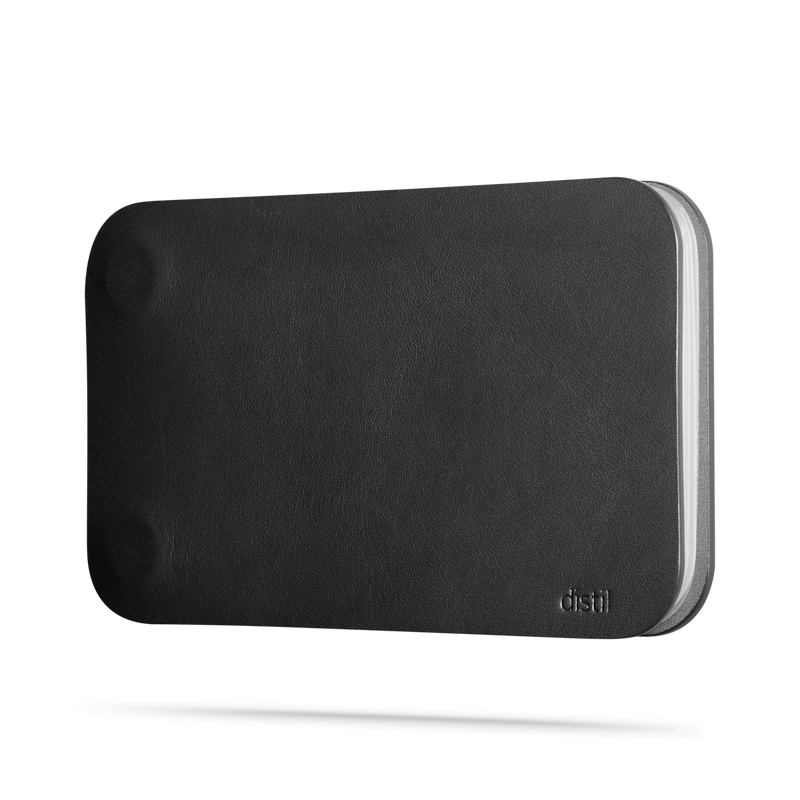 side view of black leather modwallet cover with small distil logo on bottom right corner