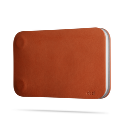 side view of brown leather modwallet cover with small distil logo on bottom right corner
