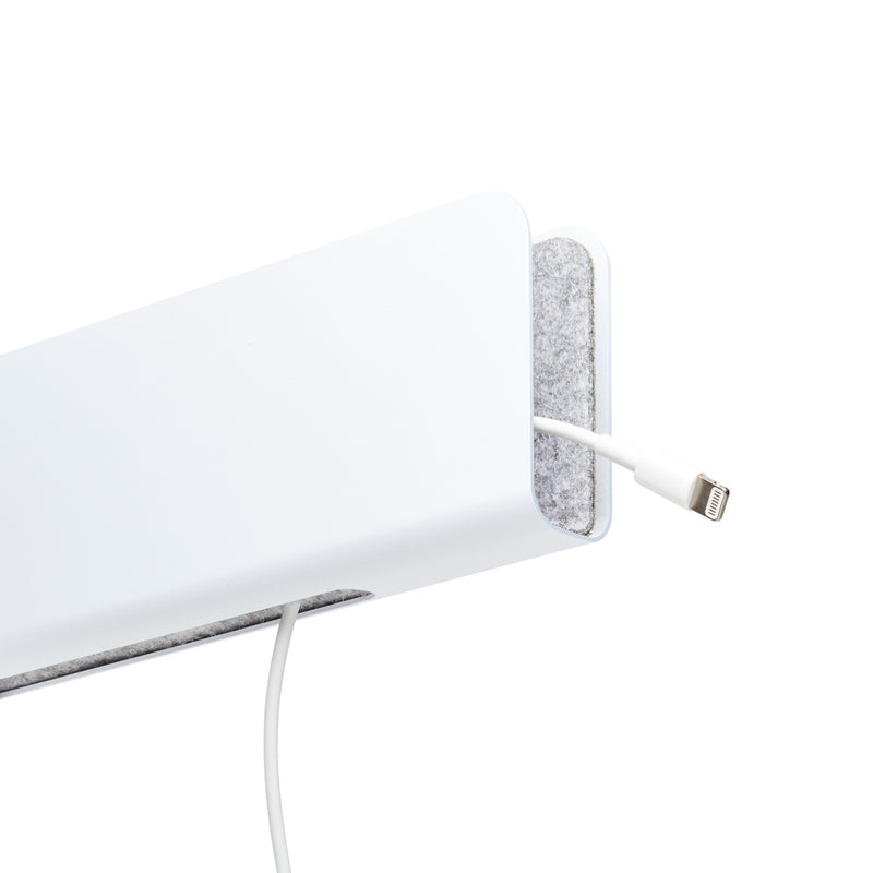 angle view of distil white modstation with an lightning connector looped through