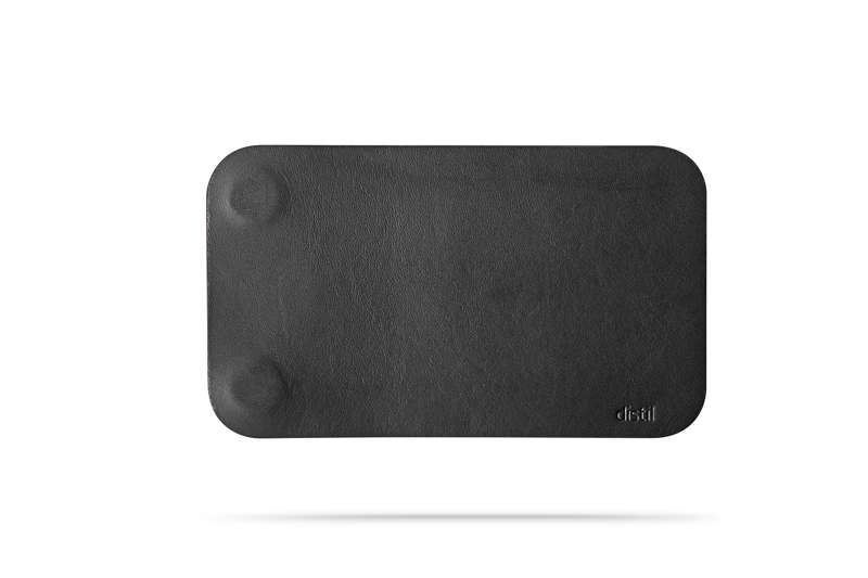 angle view of black leather modwallet cover with small distil logo on bottom right corner
