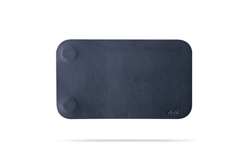 front view of navy leather modwallet cover with small distil logo on bottom right corner