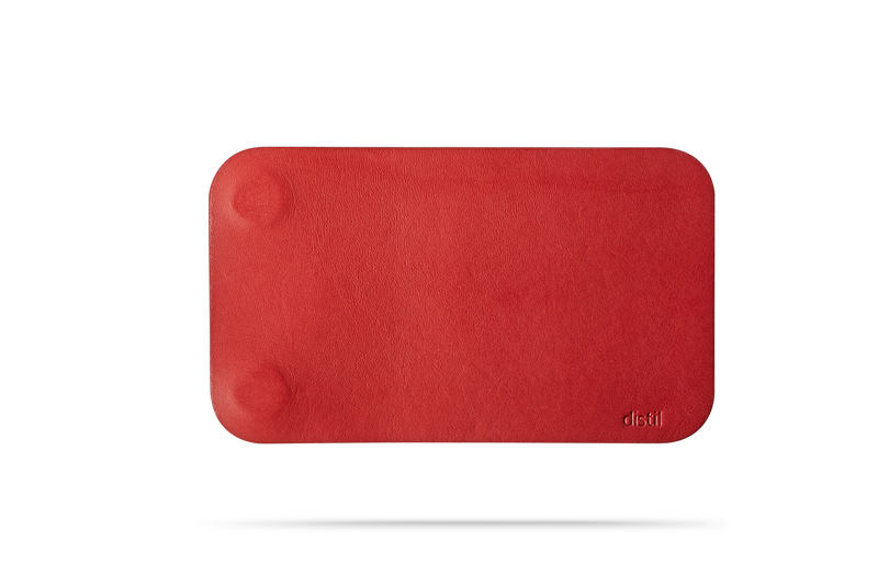 front view of red leather modwallet cover with small distil logo on bottom right corner