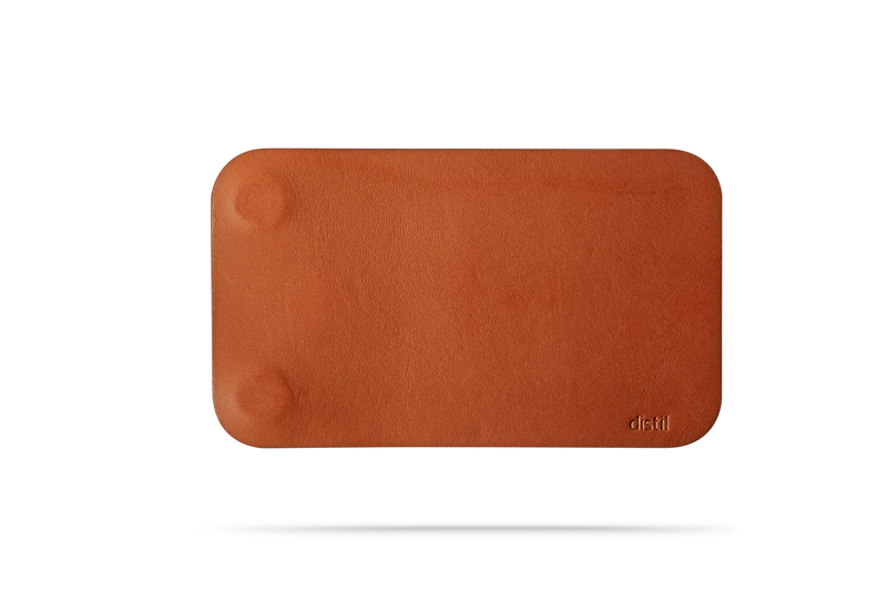 front view of brown leather modwallet cover with small distil logo on bottom right corner