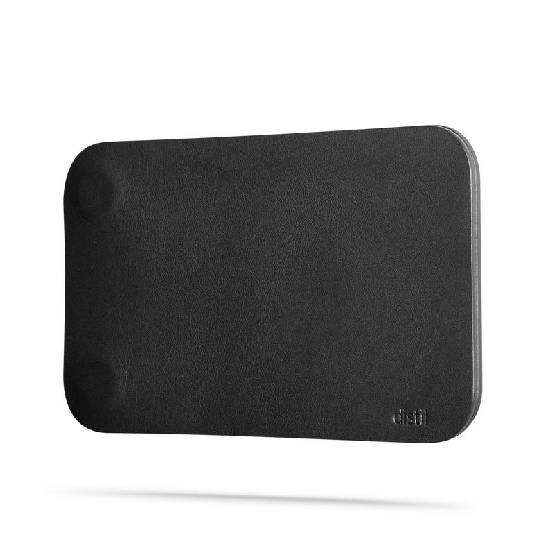 black leather modwallet cover with small distil logo on bottom right corner of cover