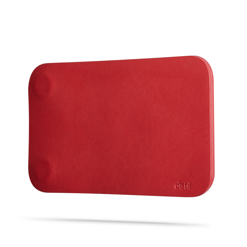angle view of red leather modwallet cover with small distil logo on bottom right corner