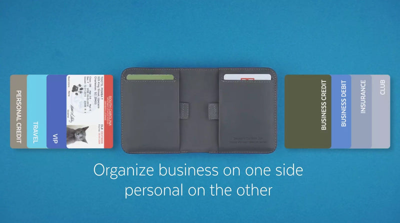 slim wallet showing to put business cards on the right and personal cards on the right