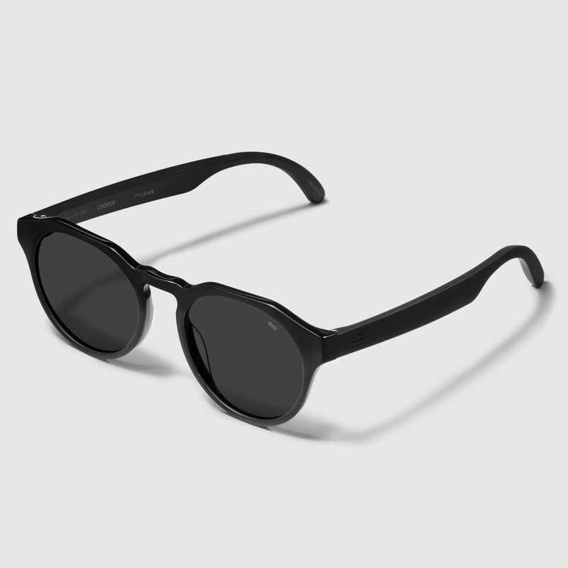 angle view of distil cooper sunglasses with matte black frames and polarized lens