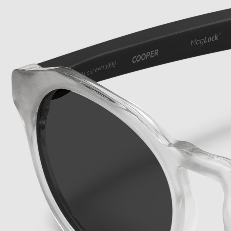 close up view of distil cooper sunglasses with matte crystal frames and polarized lens