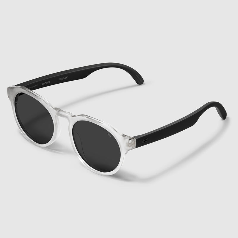 angle view of distil cooper sunglasses with matte crystal frames and polarized lens