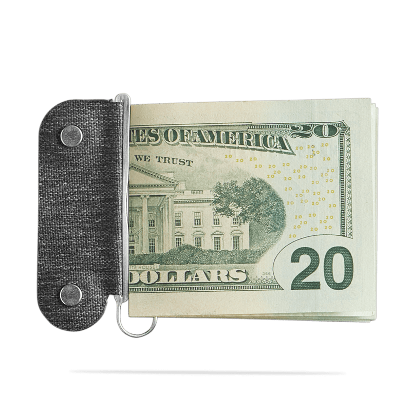 distil moneyclip featured holding a 20 USD bill on a white backdrop