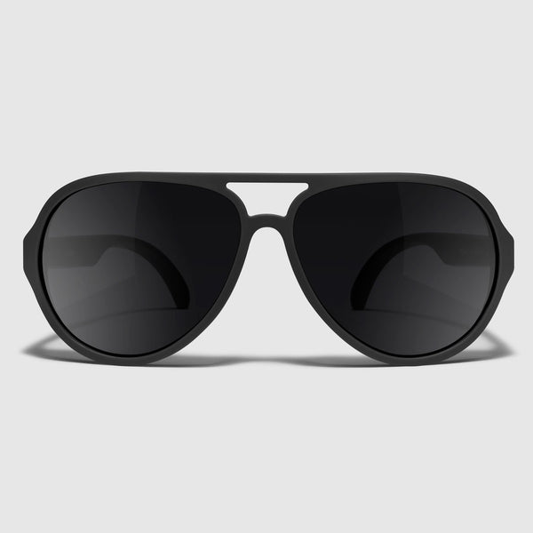 front view of distil maglock aviator sunglasses in flexible, magnetic frames and polarized lenses