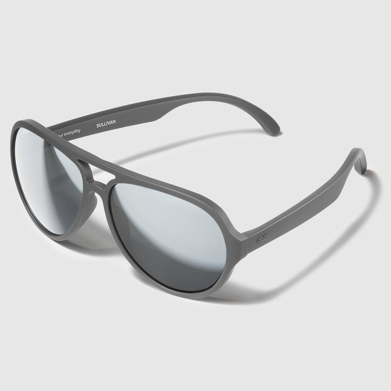 angle view of distil storm grey aviators with flexible frames and mirrored lens