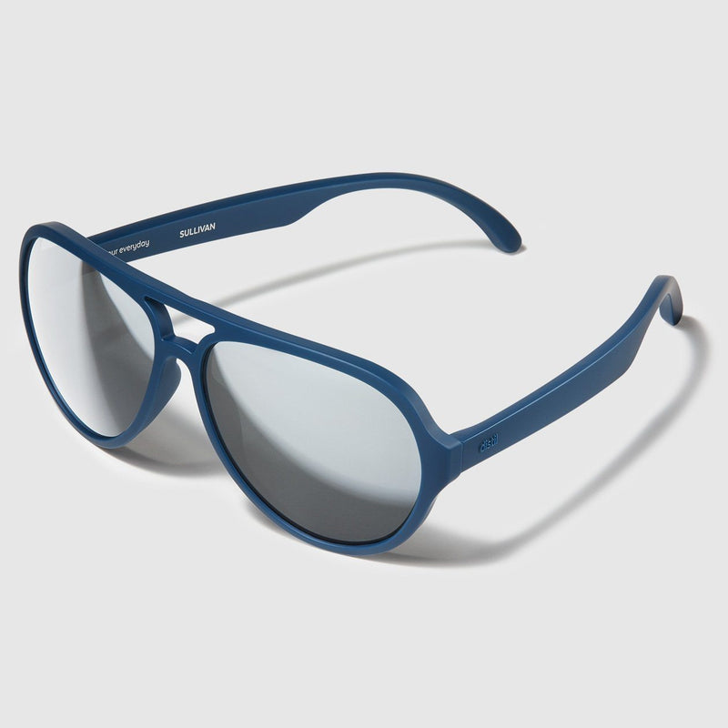 side angle view of distil marine blue sullivan aviators with flexible frames and mirrored lens