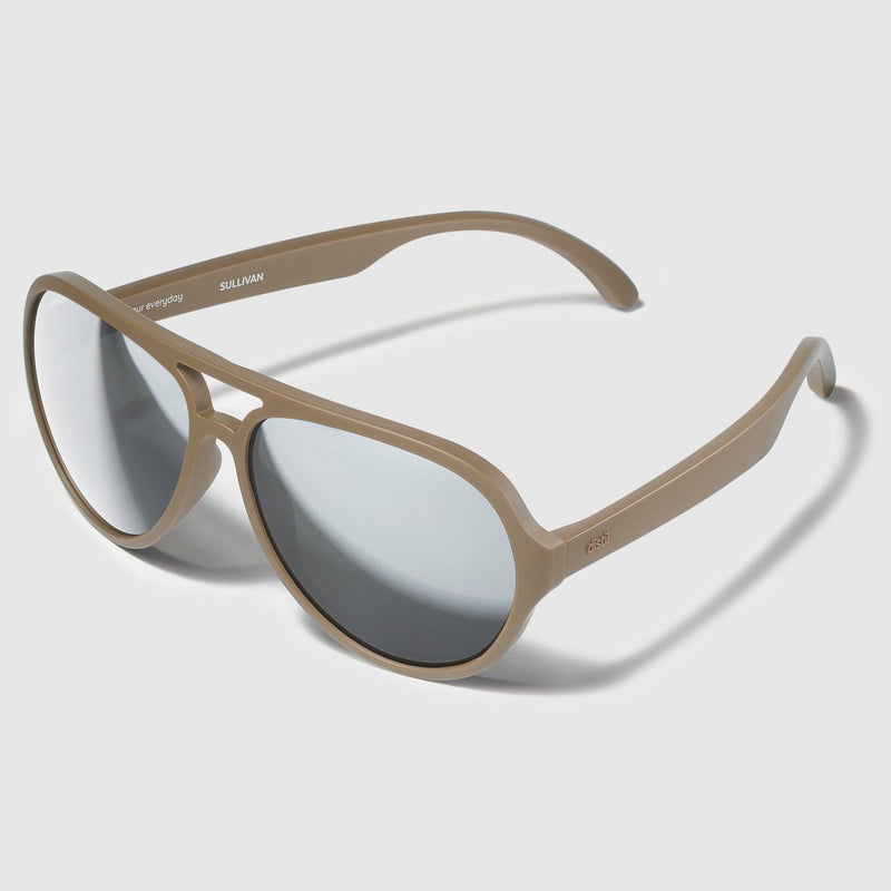 side angle view of distil sand tan sullivan aviators with flexible frames and mirrored lens