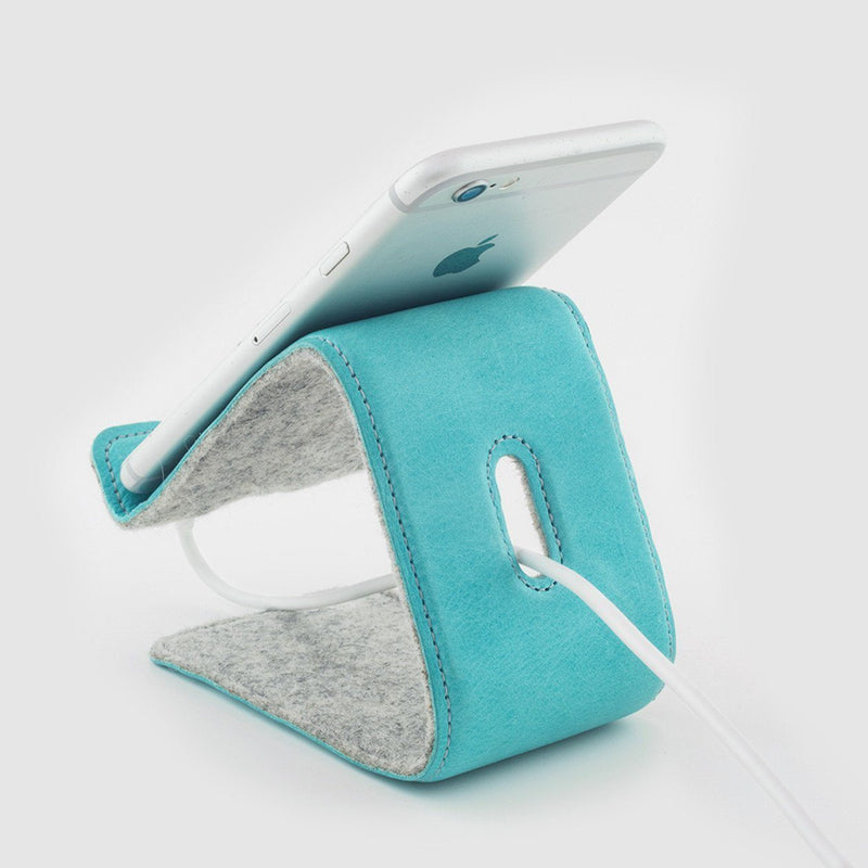 backview iphone on distil phone and tablet stand made of merino wool and turquoise leather