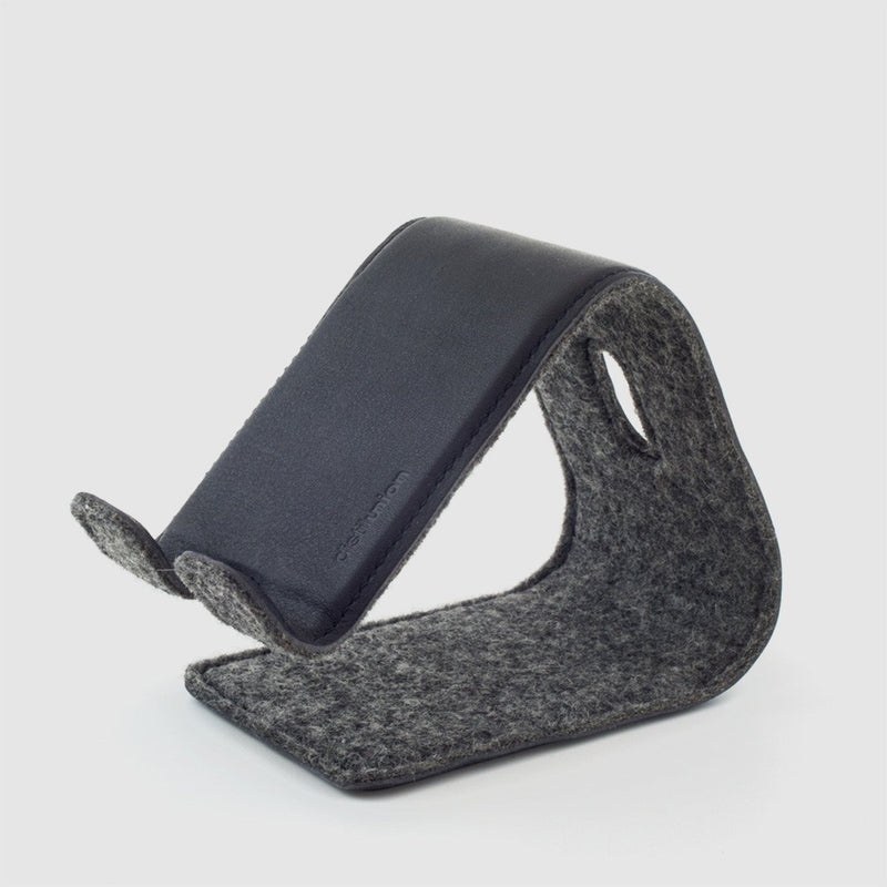 distil stanley stand for phones and tablets made of merino wool and black leather
