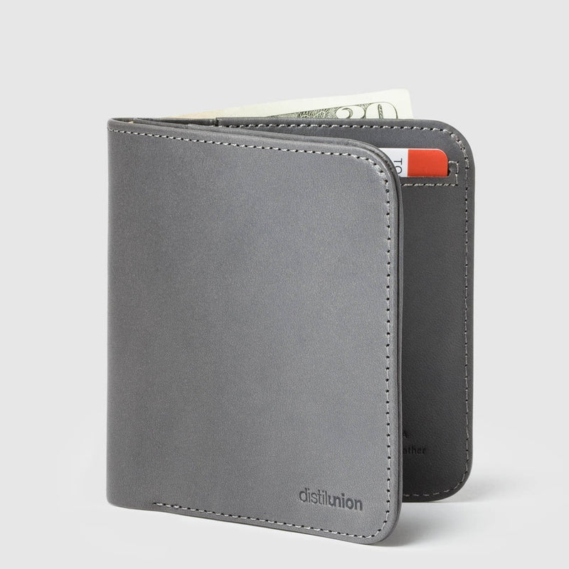 distil wally agent slim billfold wallet slate with distil logo on the bottom right corner